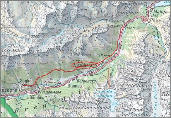 Map of Bregaglia Valley