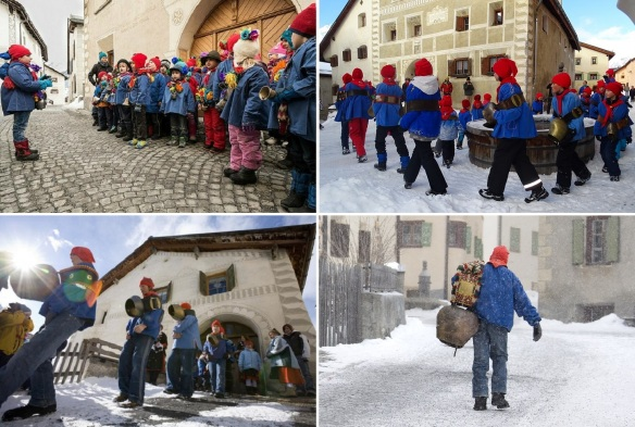 Present spring festival's procession in Guarda (Photos from Engadin Tourism)