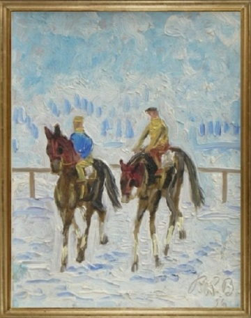Zwei Jockeys auf dem St. Moritzersee (Two jockeys on Lake St. Moritz)