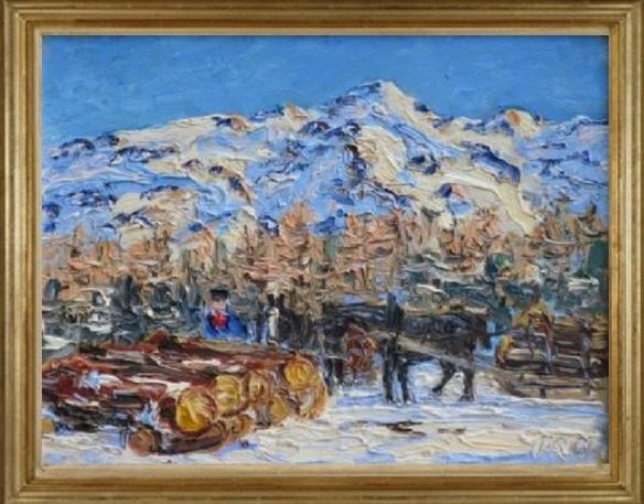 Holzarbeiten an einem sonnigen Wintertag in St. Moritz (Woodwork on a sunny winter day in St. Moritz)
