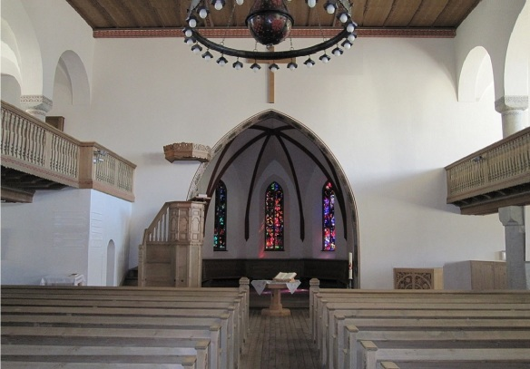 The altar and nave of St. Johann church, Davos Platz.