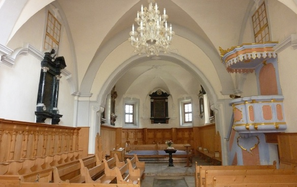 The interior of the Reformed Church Soglio