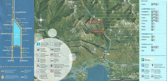 Map from Verzasca Dam to Corippo and Lavertezzo