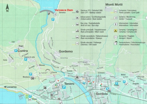 Map of Verzasca Dam in the Verzasca valley