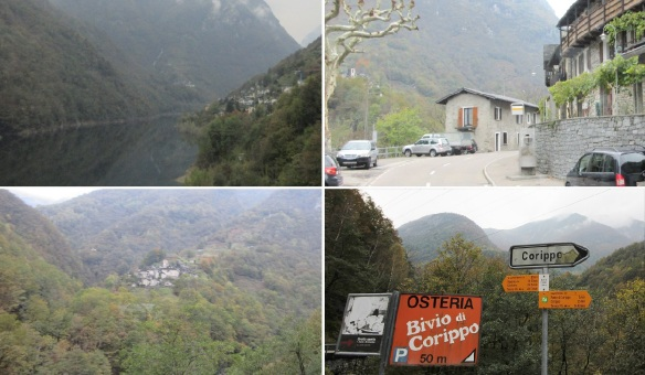 Views from the Verzasca Dam to the village of Corippo