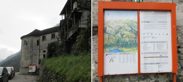 Through the street of Bassa Corippo to the village center. Information Board