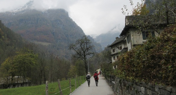 Leaving the waterfall of Sonogno