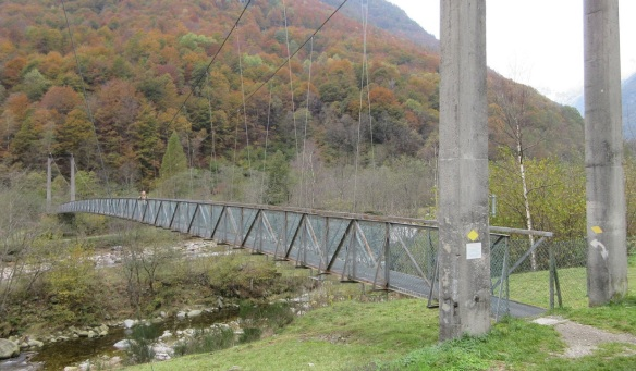 The hanging bridge over the Verzasca River