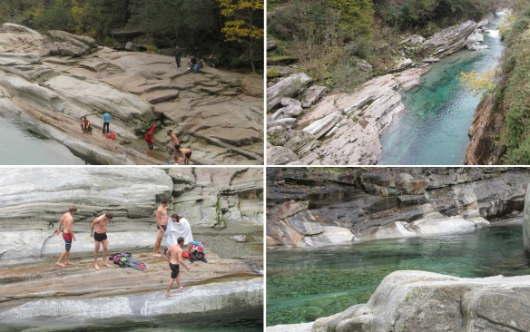 Verzasca River, young people enjoy in the river.