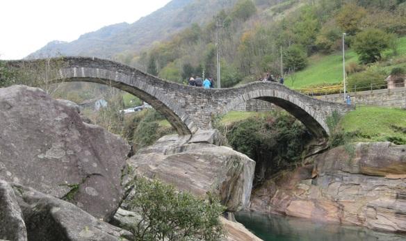 The 17th century double-arched stone bridge over the Verzasca River, Lavertezzo.