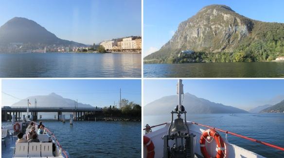 Sailing the Lake Lugano to Morcote. The scenery is splendid.