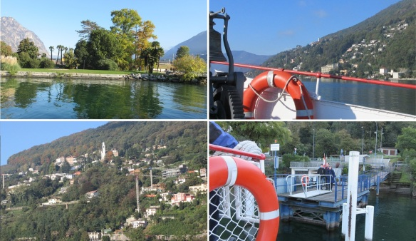 The scenery was splendid. Passengers were waiting the ferry at the pier of Brusino Arsizi Village.