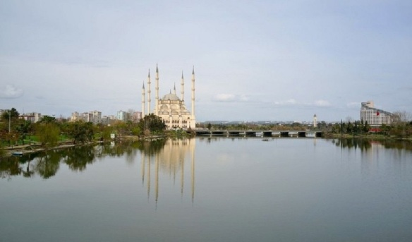 Sabancı Central Mosque, view from the Roman Bridge