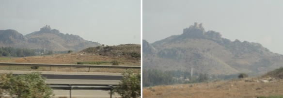 Distant views of an old castle, photos taken from car window.