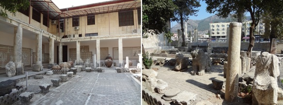 Many excavated articles were displayed in the courtyard of the museum.