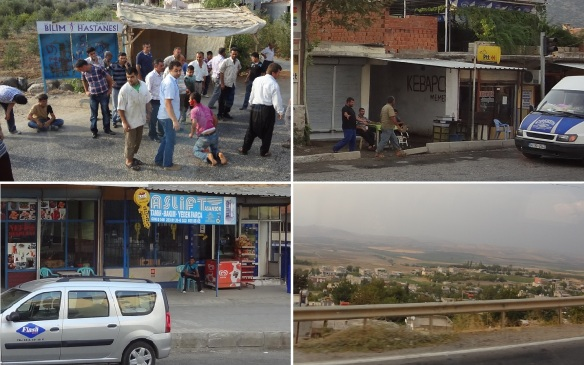 Leaving Antakya for next destination Gaziantep. Photos taken from the car window. The first photo, two children had a fight and adults reproved them.