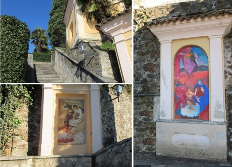 As you climb the stairs, there are frescos.