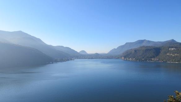 Lake Lugano, view from the church of Santa Maria del Sasso.