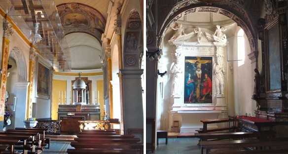 Interior of Santi Quirico and Giulietta, altar and painting of the crucifixion