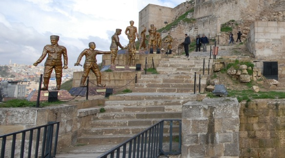 Inside of the Gaziantep Castle. I do not like these statues.