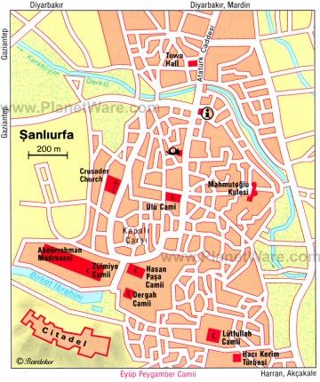 Şanlıurfa sightseeing map from PlanetWare.
