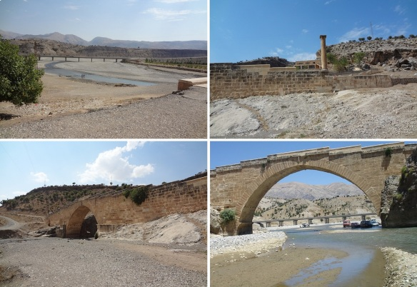 New bridge for vehicles and old Roman bridge across the Kahta River.
