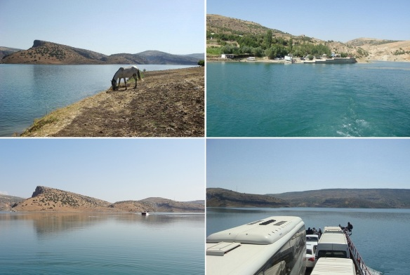 The scenery of the Ataturk Dam Lake. The weather is good, the water was clear.
