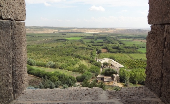Scenery of the Southeastern Anatolian plain with rich green, from top of the walls.