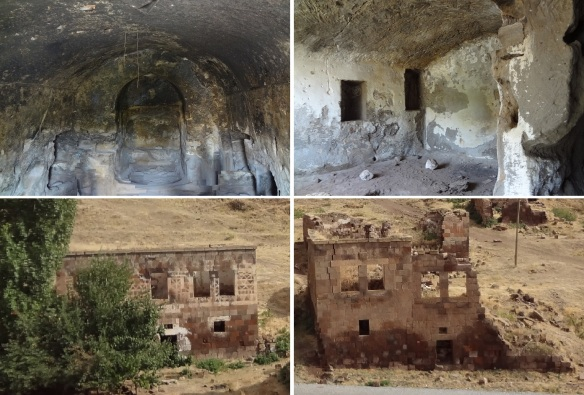 The inside of the cave houses and the ruined local houses near the Harabe Şehir.