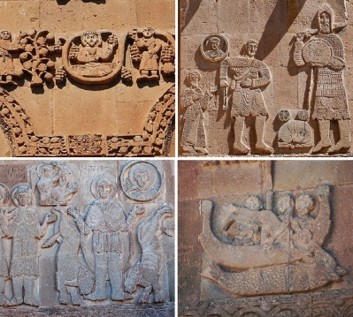 Reliefs on the outer wall; The Last Supper, David and Goliath, Daniel and the Lions, Jonah and the Great Fish.