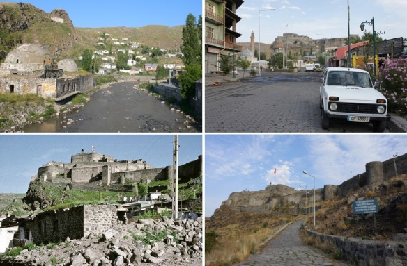 From Kars Çayı (River) going up to a hill of Kars Castle.