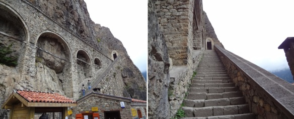 Walking up the steep stone steps to enter to the monastery.