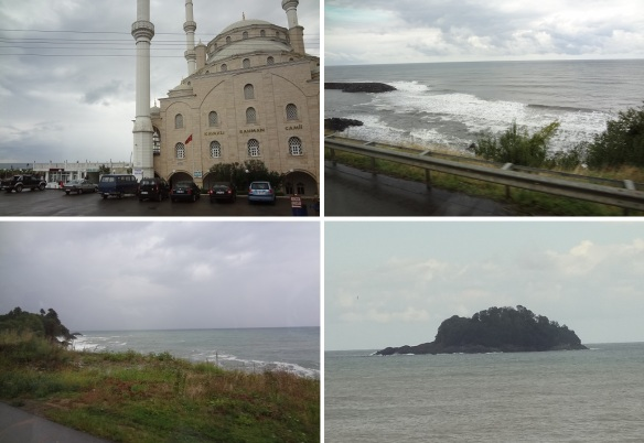 From the city of Trabzon, going to a town of Giresun; Kavakli Rahman Camii in the town of Akcaabat, Black Sea and the coast, Giresun Island.