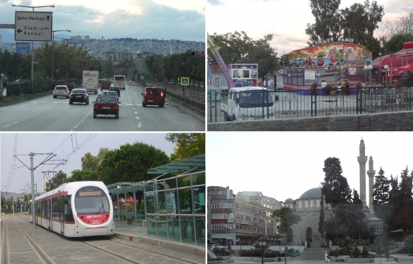Going to the booked hotel; Ataturk Boulevard in the twilight, Akyol theme park, Tram and the station and a local mosque