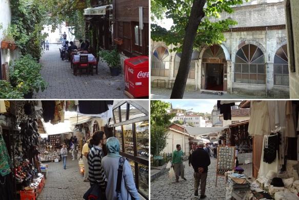Little cafe on a path, entrance of hammam, souvenir shops.