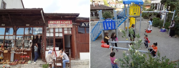 Hane Cafe and a playground in front of the cafe. I had a cup of coffee at the cafe.