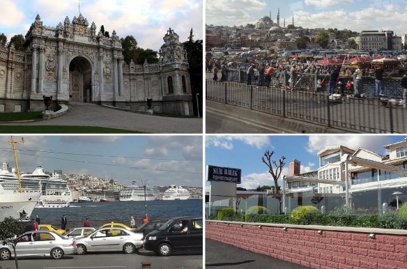 Cihangir Mosque. Many anglers on the Galata Bridge. Yenikapı Ferry Terminal. Fish Restaurant Sur Balik, we had late lunch at the restaurant.