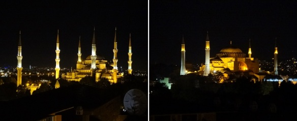 Night scenery, from the hotel's restaurant. Sultan Ahmet Mosque (Blue Mosque) and Hagia Sophia (Ayasofya).