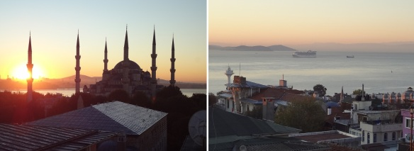 Morning view from the hotel, Blue Mosque and Marmara Sea