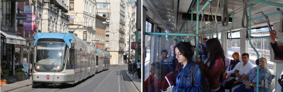 Going to the Süleymaniye Mosque by a tram.