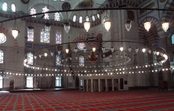This is the inside of Süleymaniye Mosque.