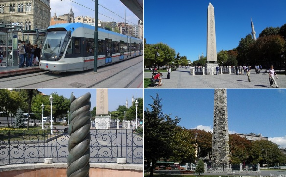 Took a tram at the Galata Bridge. The Obelisk of Theodosius, the Serpent Column and the Walled Obelisk in the ancient racetrack Istanbul.