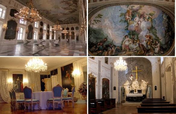 Hofburg Main Hall, Celling of the hall, Sala Lorena Room and Hofburg Chapel.