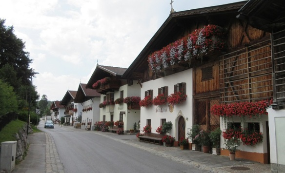 Dorf Street decorated with a flower