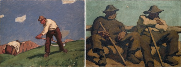 Albin Egger-Lienz's works; Two Mountain Mowers and Resting Shepherds