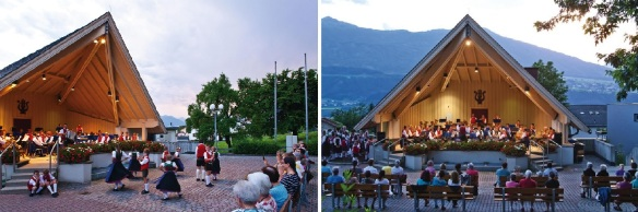 Residents enjoy the concerts and events here. Photos are from the brochure.