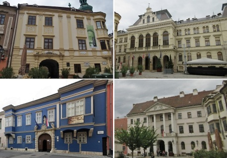 —Storno House, City Hall, Esterházy Palace and County Hall (Győr-Moson-Sopron) in the main square of Sopron