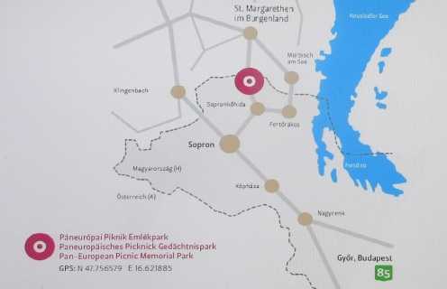 The map to Pan-European Picnic Memorial Park from Sopron