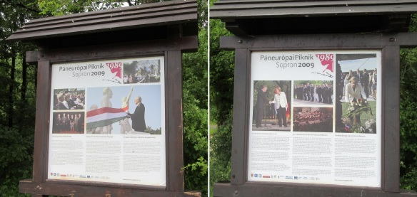 """Explanation boards """"European Celebration of the Pan-European Picnic"""" and """"The Breakthrough was a Historical Moment"""" Sopron 2009."""