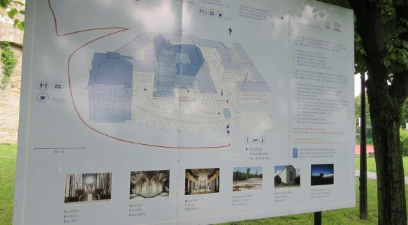 Explanation board of the abbey